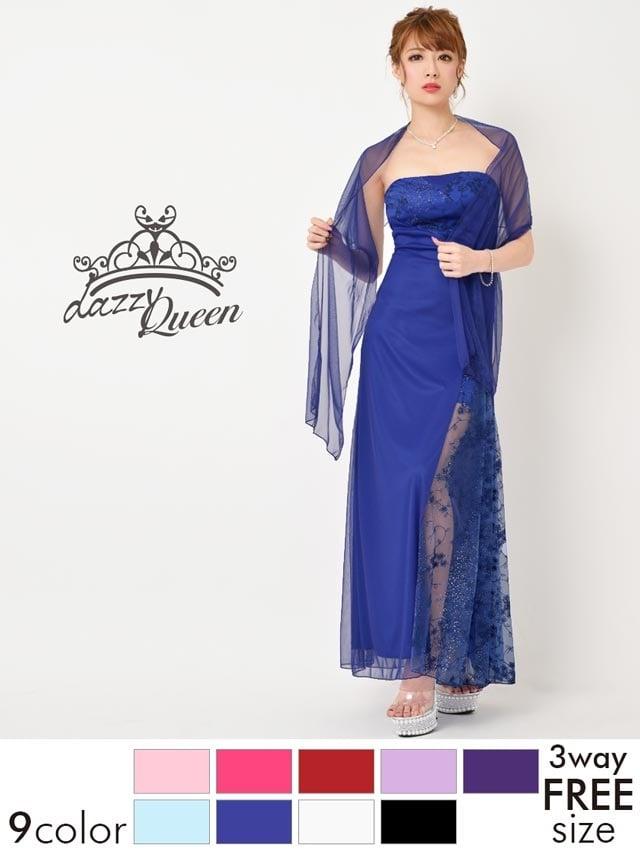 ストール付き花刺繍ラメ入りベアロングドレス