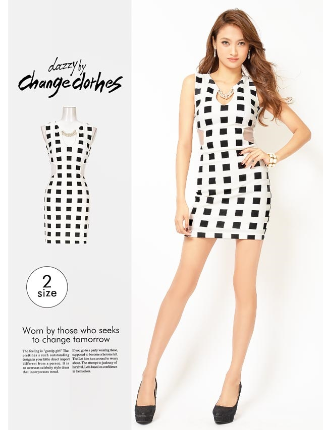 [S/Mサイズ]ウエスト&背中透けモノトーンチェックタイトミニドレス