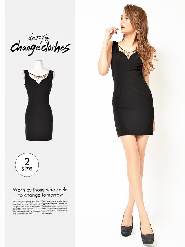 [S/Mサイズ]チェーンネックレス付ブラックタイトミニドレス