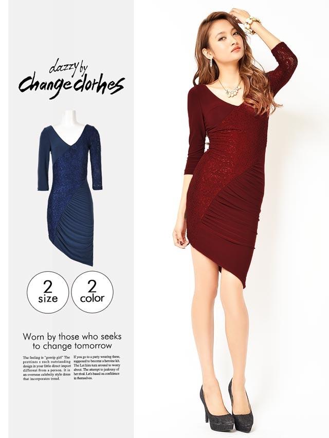 [S/Mサイズ]異素材切り替えアシメスカートミニドレス