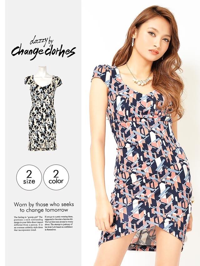 [S/Mサイズ]幾何学柄ラップスカート風デザインタイトミニドレス[香川沙耶]