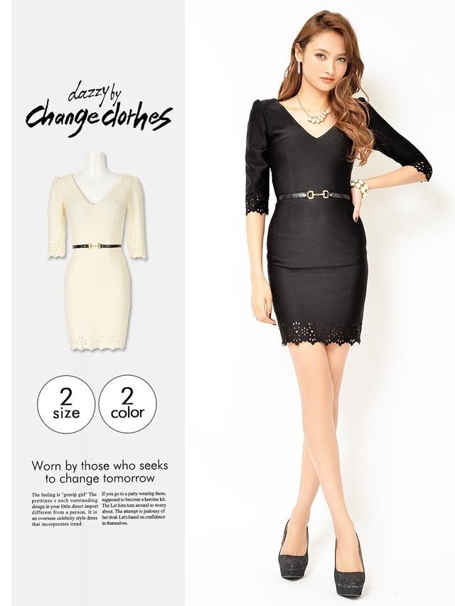 [S/Mサイズ]ベルトモチーフ付きパンチング加工デザインタイトミニドレス