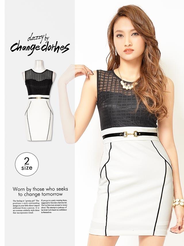 [S/Mサイズ]バックル付デコルテ透けバイカラーモノトーンドレス