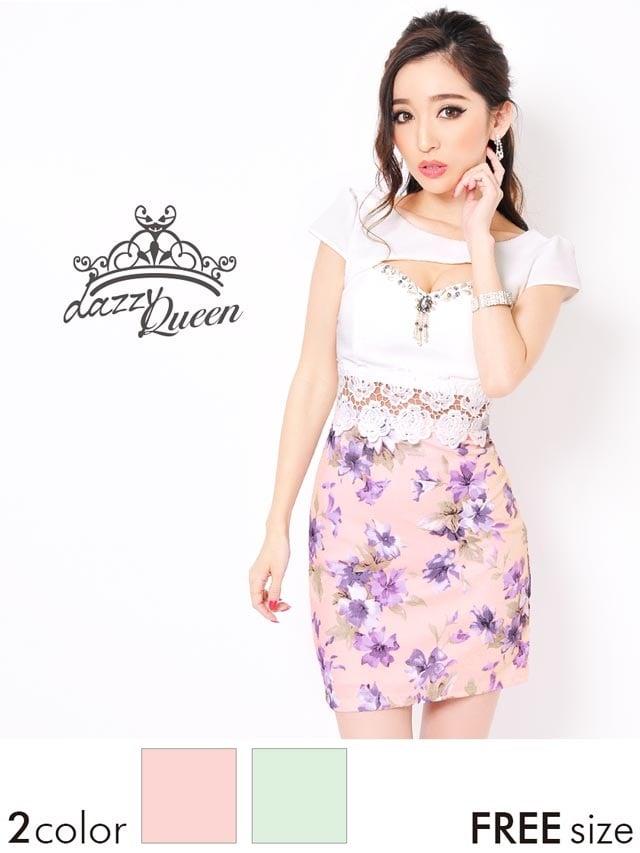 谷間&ウエスト魅せフラワー袖付きタイトミニドレス