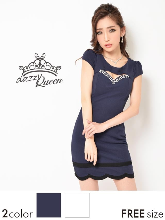 ビジュー付き谷間ホール裾スカラップタイトミニドレス