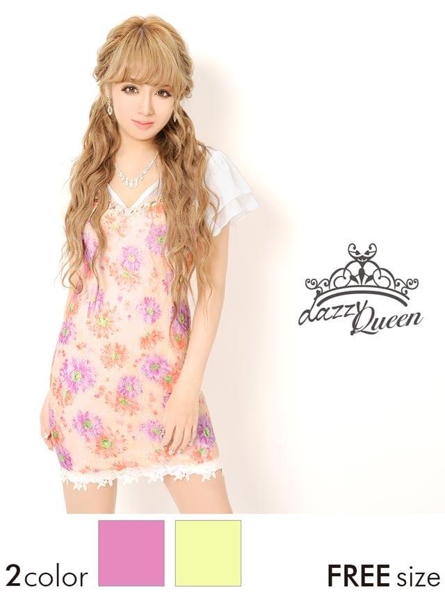ビジュー付シフォン袖花柄レースタイトミニドレス