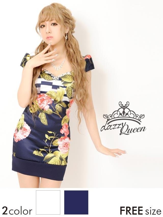 大判花柄袖付きタイトミニドレス