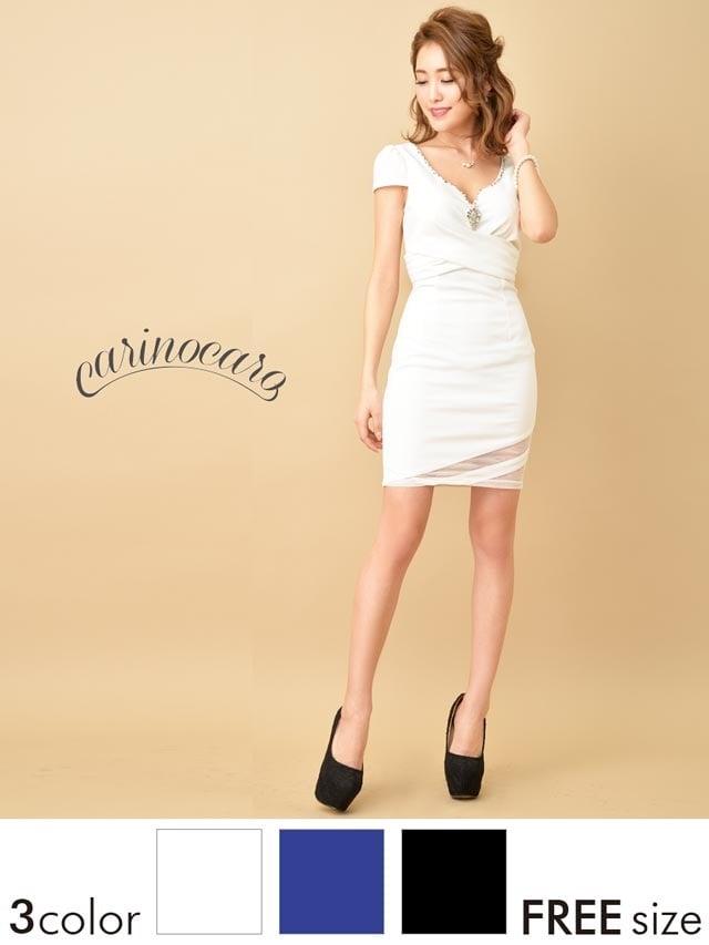 ビジューブローチ付シンプルタイトミニドレス