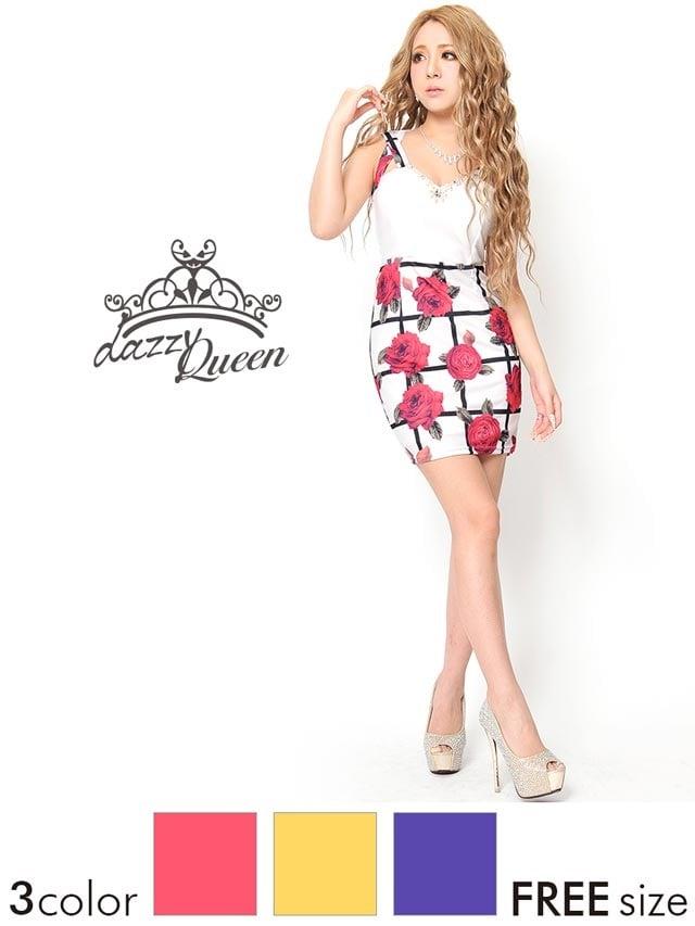 薔薇柄格子ノースリーブタイトミニドレス