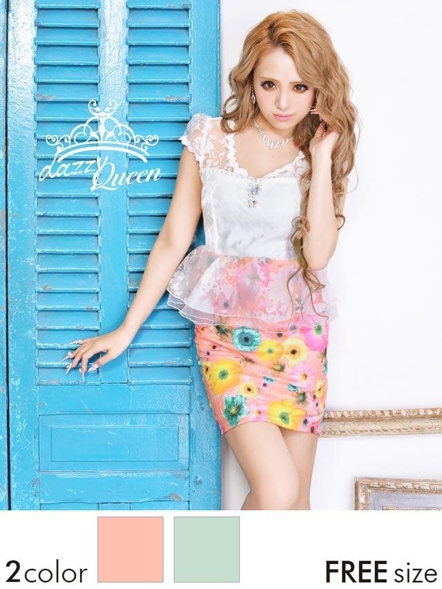 花柄透け袖付きペプラムタイトミニドレス