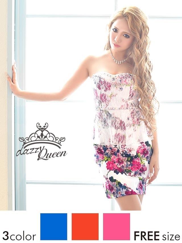 ビビッド花柄×レースペプラムベアタイトミニドレス