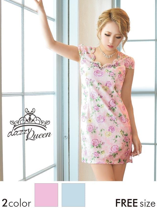 薔薇柄総レース袖付きタイトミニドレス