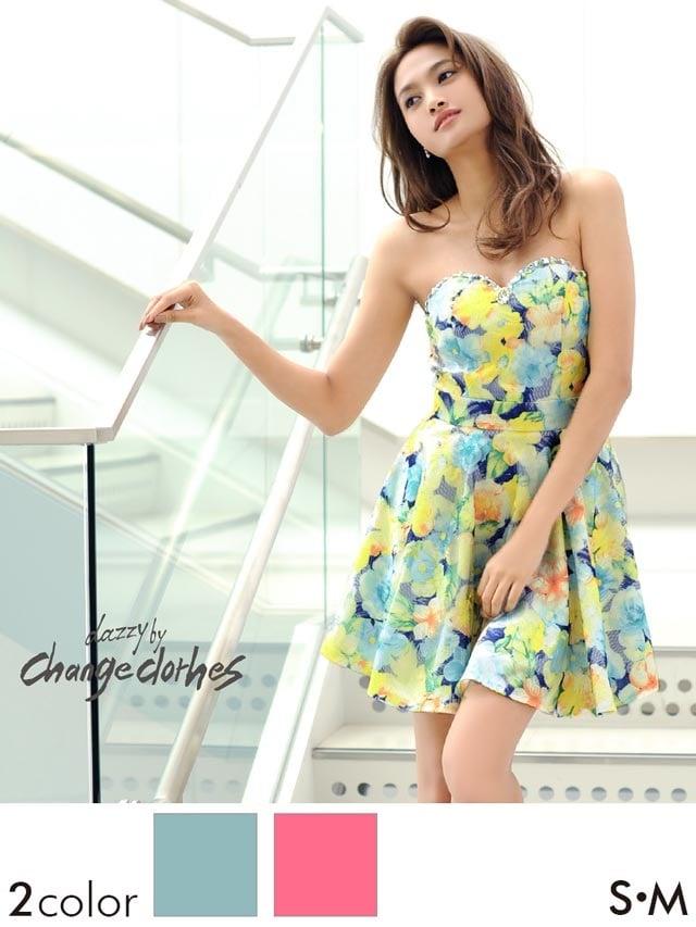 刺繍レース花柄ベアトップAラインミニドレス