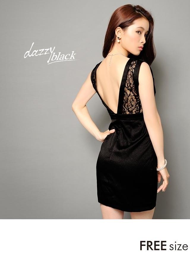 背中Vカット魅せブラックタイトミニドレス