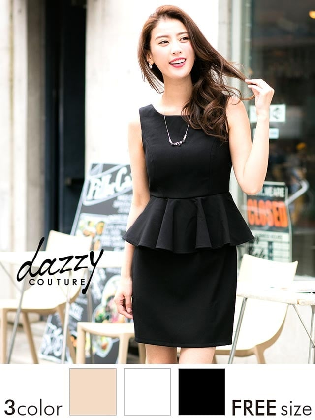 [dazzy couture]ノースリーブペプラムタイトミニドレス