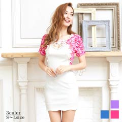[S~Lサイズ]花柄刺繍付ピュアホワイトレイヤード風袖付きタイトミニドレス[5サイズ展開]