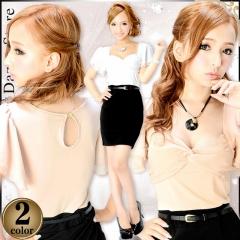 ピタ2ワンピはベルト付きで美シルエット★ブラック切替で細魅せシフォン袖付きタイトミニドレス
