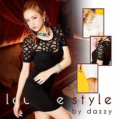 [lounge style]袖付き柄入りジャージーミニドレス