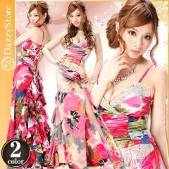 [2ピース]水彩花柄バック編み上げスリット入りフリルホルターロングドレス