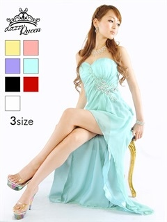 [SML/3サイズ][全7色]シフォンテールカットロングドレス