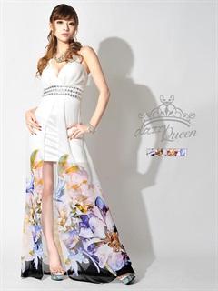 ビジューパール付きシフォンホルターインナーミニロングドレス