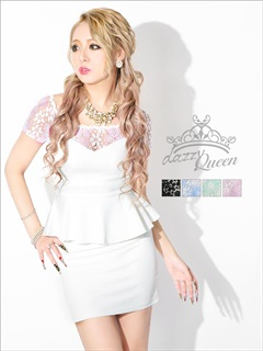 パステル花柄透け刺繍×ピュアホワイトペプラムタイトミニドレス