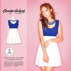【2サイズ展開★】[change clothes]デコルテビジューバイカラーフレアミニドレス