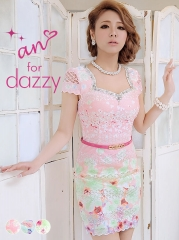 [an for dazzy]ベルト付き背中空き袖付き花柄タイトミニドレス[AOC-DZY-05]