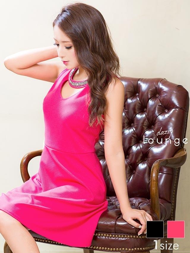 ビーズ付きU型カットAラインブラックドレス