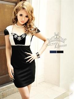 袖付きバイカラータイトミニドレス