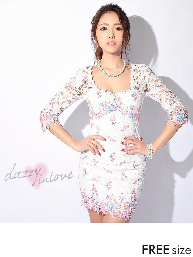 ビジュー付き刺繍レース五分丈袖付きタイトミニドレス