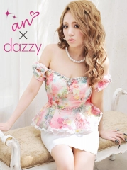[an×dazzy]肩リボンで可愛く甘く着こなせる魔法の1枚登場★オフショル肩リボン仕様花柄ペプラムタイトミニドレス[AOC-DZY-12]