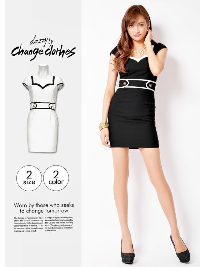 [S/Mサイズ]バイカラー配色シンプルモノトーン袖付きタイトミニドレス