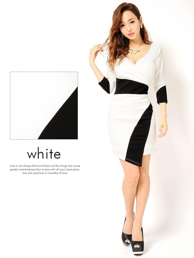 バイカラー巻きスカート風七分袖付きタイトミニドレス