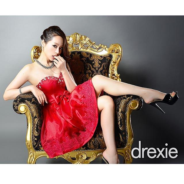 [drexie]BIGリボン付きオーガンジーベアフレアミニドレス